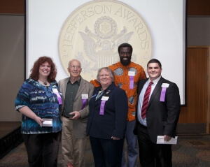 2013 Washington State Jefferson Awards Winners (from left to right) Karen Krejcha, Michael Mowat, Julia Sheriden, Olowo-n'djo Tchala, and Jared Costanzo.