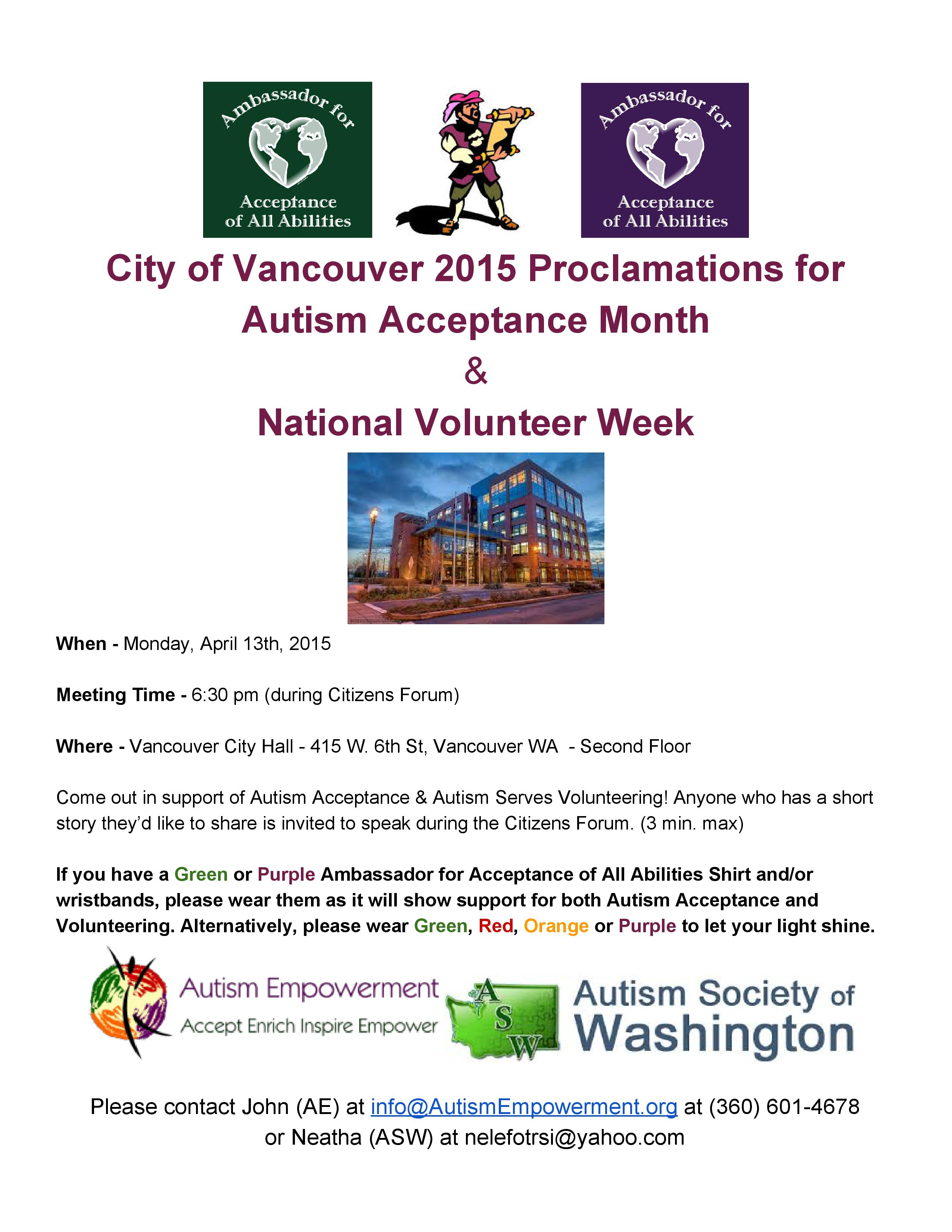2015 Autism Acceptance Month Proclamation in Vancouver