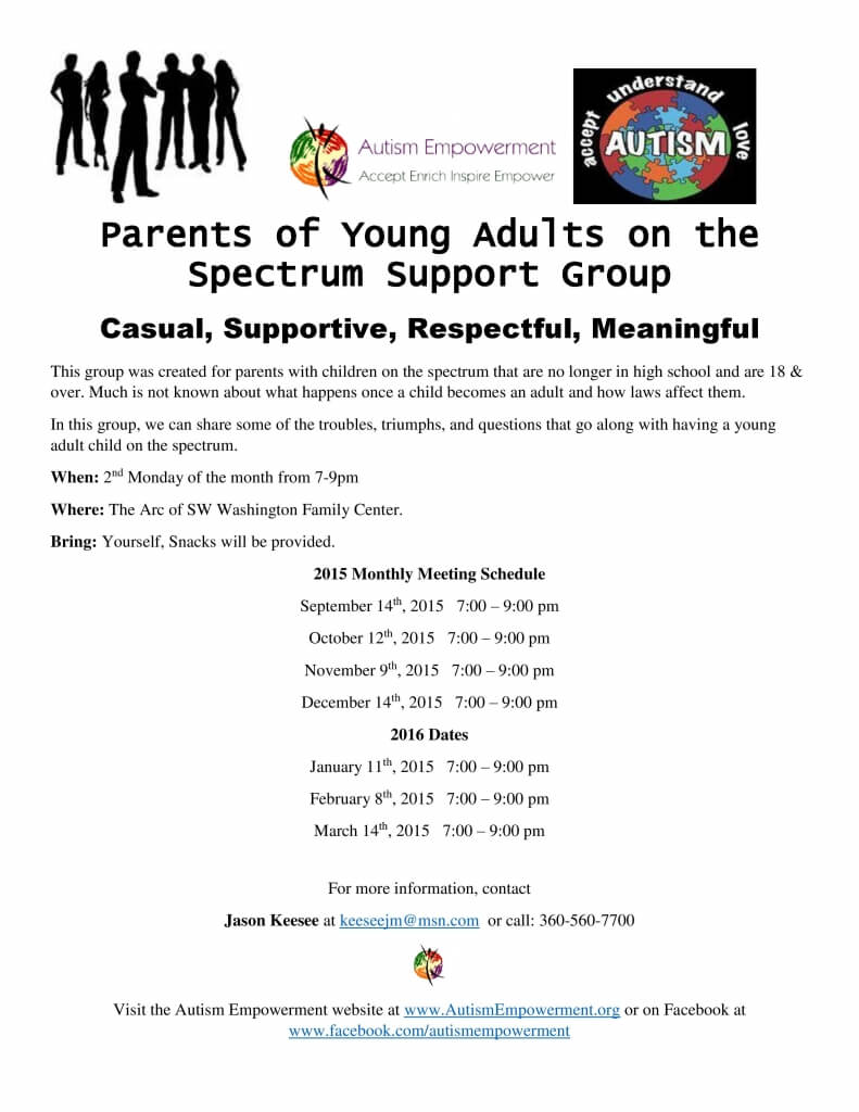 Parents of Young Adults on the Autism Spectrum Support Group @ The Arc of Southwest Washington | Vancouver | Washington | United States