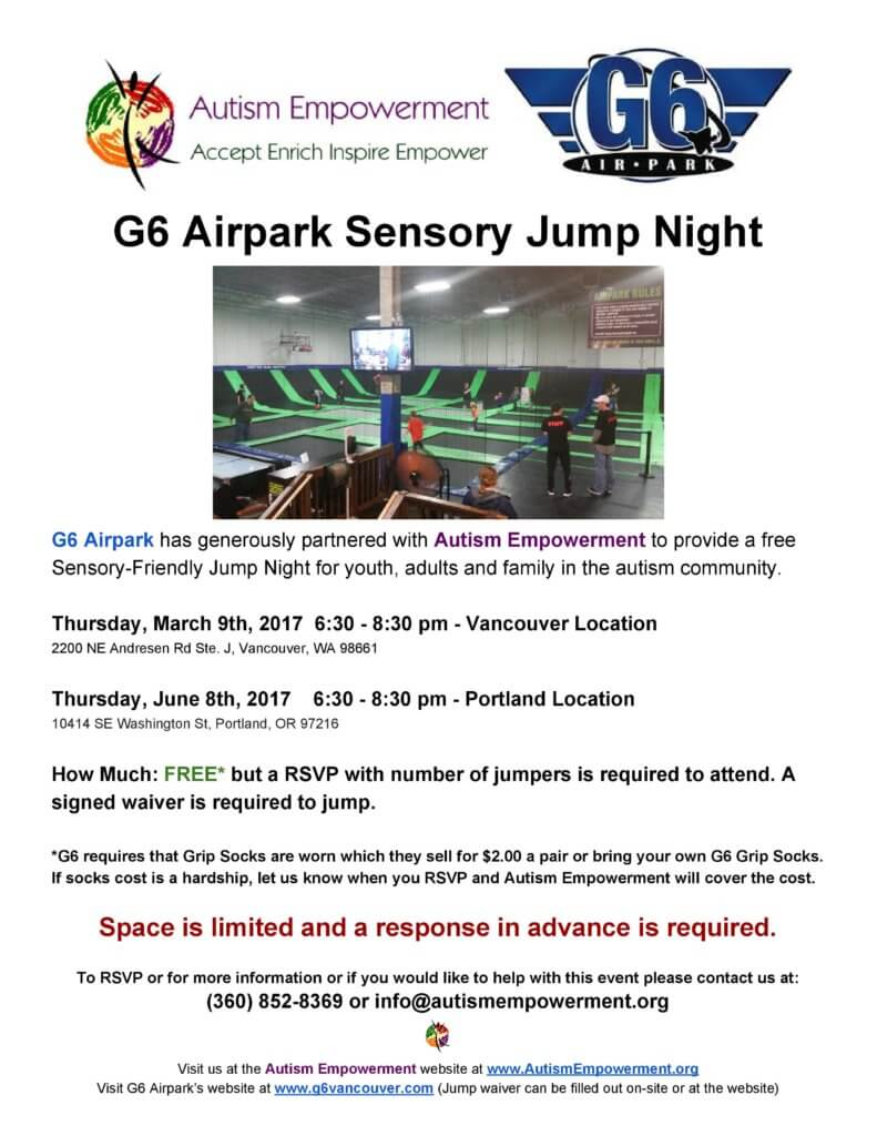 G6 Airpark and Autism Empowerment Free Sensory-Friendly Jump Night @ G6 Airpark | Portland | Oregon | United States