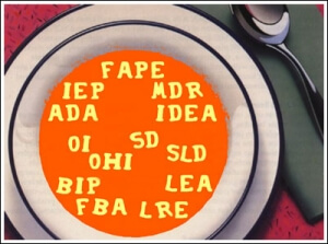 A soup bowl containing alphabet soup filled with common acronyms for special education