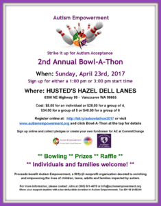 Strike It Up for Autism Acceptance Bowl-A-Thon 2017 @ Husted's Hazel Dell Lanes   Vancouver   Washington   United States