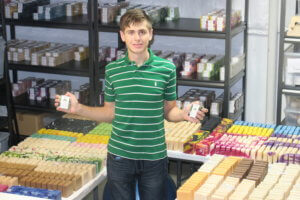 Spencer Kelly at work with Expedition Soap Company