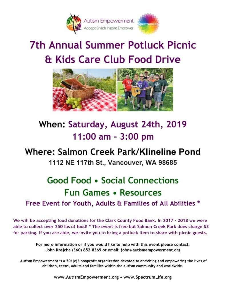 Autism Empowerment 7th Annual Summer Potluck Picnic @ Salmon Creek Park / Klineline Pond